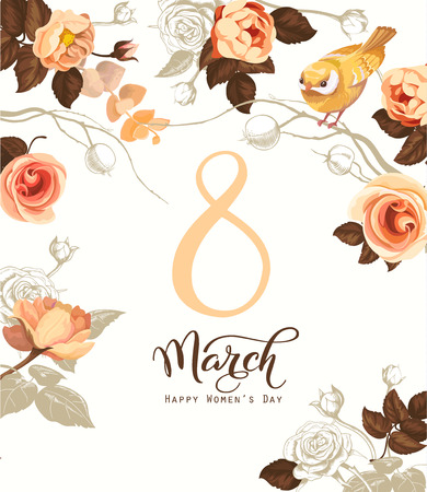 Happy 8 March. Women s day greeting card. Beautiful hand lettering with bunch of spring flowers, leaves and blue bird sitting on it on background. Vector illustration for postcard, invitation, banner