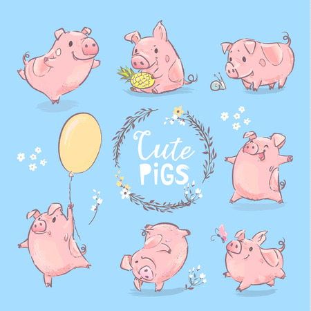 2019 New Year Symbol Pig Various Banner Set