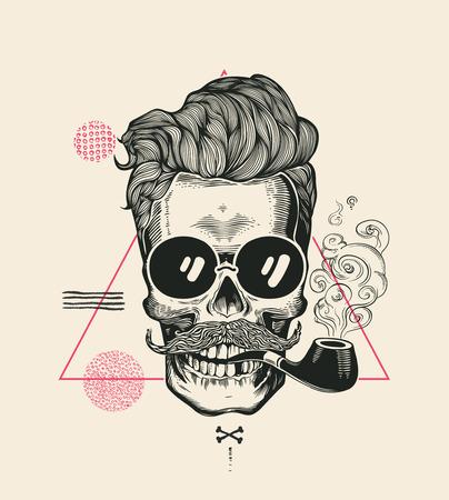 Stampa dell'illustrazione di vettore del tubo del fumo del cranio dei pantaloni a vita bassa. Cool baffi scheletro viso in occhiali da sole. Urban Modern Hair T-Shirt Print Monochrome Sailor Head Black Death Silhouette Archivio Fotografico