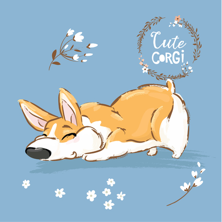 Cute Corgi Dog Puppy Sniff Vector Illustration. Funny Fox Pet Character Flower Poster. Awesome Happy Brown Doggy Series Isolated on Blue Background Flat Cartoon Print Banner. Stock Photo