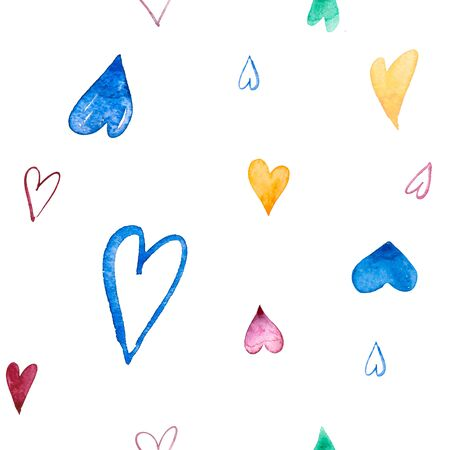Samless pattern with hand painted watercolor hearts on white background. Perfect for romantic occasions such as Valentines day. Perfect for Wear Fashion Design