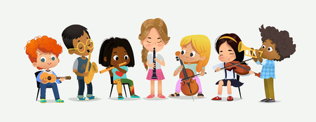 School Orchestra Play Various Music Instrument. Children Together in Classroom. Boy with Saxophone. Happy Teenage Performance. Grand Party Education Flat Cartoon Vector Illustration