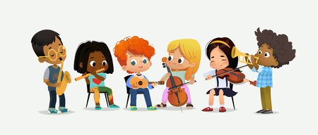 Children Orchestra Play Various Music. Girl with Violin. Classroom Teenage Education. Funny Entertainment Party. Teamwork Instrument Acoustic Performance Flat Cartoon Vector Illustration