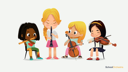 Girl Orchestra Play Different Music Instrument School Jazz Band. Yong Funny Star. Classroom Teenage Education. Acoustic Stereo Sound. Violin Cultural Concert Flat Cartoon Vector Illustration Banco de Imagens - 124003936