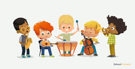 Boy Orchestra Play Different Music Instrument. Jazz Band Performance. Teenage Happy in Classroom. Saxophone Kid Concert. Pupil Acoustic Star. Drum Stereo Sound Flat Cartoon Vector Illustration