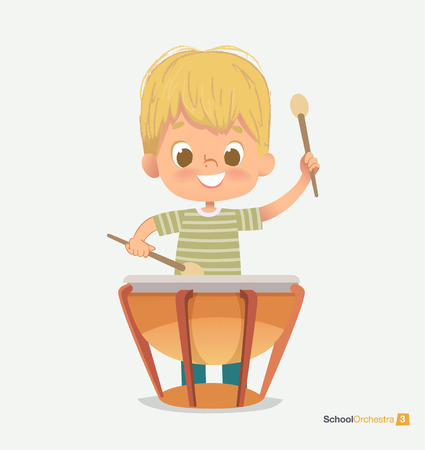 School Orchestra Smile Boy Play Beats Drum Sticks. Creative Music Sound. Jazz Festival Performance. Classroom Teenage Education. Green T-shirt Pattern Flat Cartoon Vector Illustration Banco de Imagens - 124003939