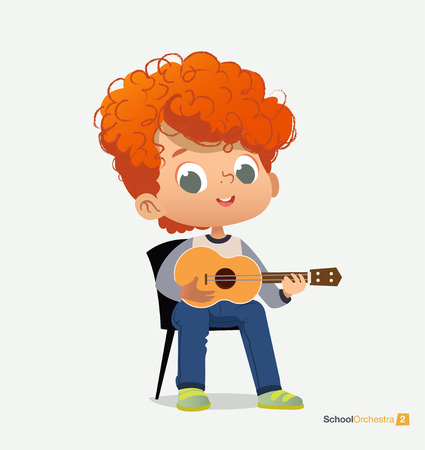 Curly Red-haired Boy Sit on Chair Play Guitar. Funny Music Sound. Acoustic Jazz Festival Performance. Classroom Teenage Education. Blue T-shirt Pattern Flat Cartoon Vector Illustration Illustration