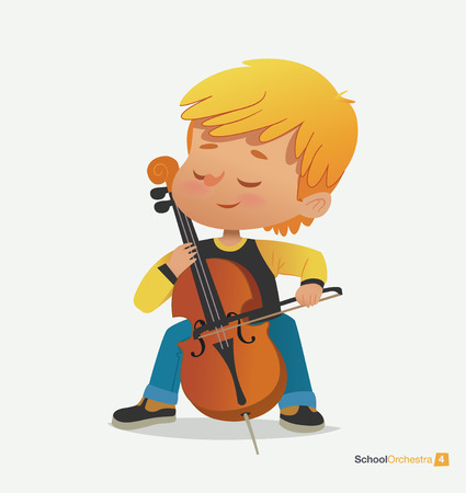 Blond Boy Sit on Chair Play Contrabass with Joy. Musical Noise Volume. Acoustic Festival Performance. Teenage Jazz Concert Sound. Modern Black Sneakers. Flat Cartoon Vector Illustration