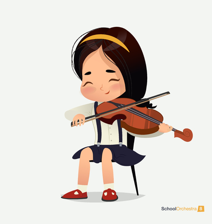 Asian Girl in Blue Skirt Sit on Chair Play Violin. Music Stereo Sound. Creative Acoustic Studio. Happy Young Person. Teenage Band Performance Concert Flat Cartoon Vector Illustration Banco de Imagens - 124003942