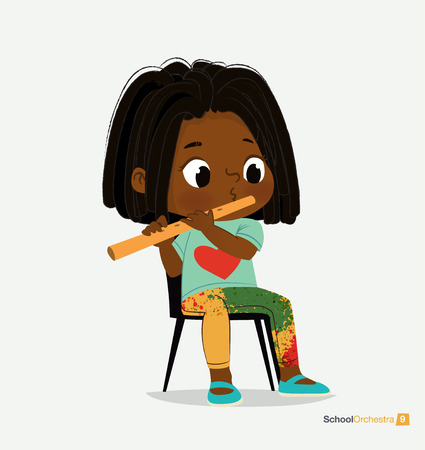 Afro American Girl with Dreadlocks Play on Fife. Music Stereo Sound. Jazz Band Performance. Young Funny Star. Modern Blue Slippers. Creative Green Yellow Jeans Flat Cartoon Vector Illustration