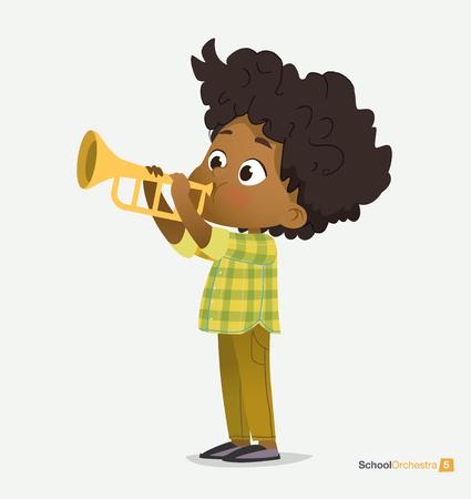 Ragazzo afroamericano riccio in camicia verde Gioca alla tromba. Stella della musica divertente. Concerto jazz culturale per bambini. Intrattenimento acustico per adolescenti. Illustrazione piana di vettore del fumetto della camicia verde alla moda