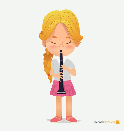 Blonde Girl Tress in Pink Skirt Play on Trumpet. Music Acoustic Teenage Jazz Festival. Yong Funny Star. Kid Creative Orchestra. Classroom Children Education Flat Cartoon Vector Illustration Illustration