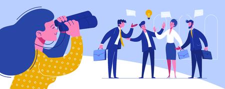 Unternehmerkonferenz Arbeitsplatzverhandlungen. Treffen der Handelssolidaritätsorganisation. Beziehung Weltinvestitionsperspektive. Schwierige globale Partnerschaft flache Cartoon-Vektor-Illustration