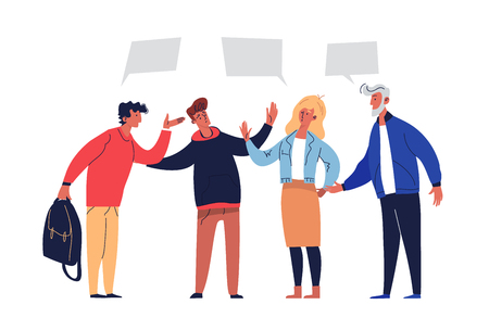 Besprechungsverhandlungen Vereinbarungslösung besprechen. Menschen Schlichtung Konzept Perspektive Partnerschaft. Aktive Gruppe mit Führung vereinbaren Teamwork-Plan-flache Cartoon-Vektor-Illustration