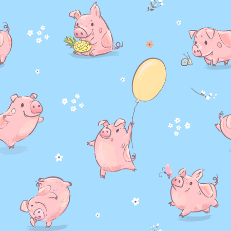 Pink Pig Dance with Balloon Seamless Pattern. Cute Happy Animal Collection for Poster Layout Concept. Zodiac Culture Element Kit for Advertising Print Flat Cartoon Vector Illustration