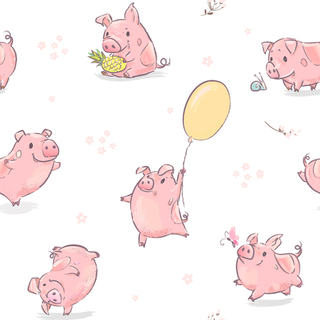 2019 New Year Symbol Dance Pink Pig with Pineapple Seamless Pattern. Funny Celebration Calendar Day. Chinese Zodiac Culture Tradition. December Holiday Concept Party Flat Cartoon Vector Illustration Illustration
