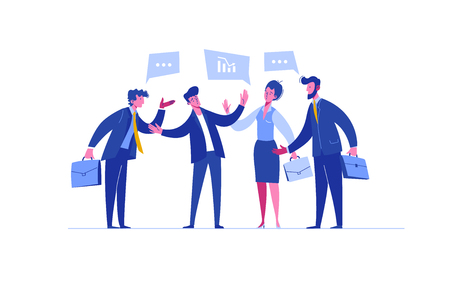 Business Person Negotiation Investment Portfolio. Concept Solidarity Cooperation. Difficult Teamwork Relationship. Group People Trade Corporate Ideas Flat Cartoon Vector Illustration