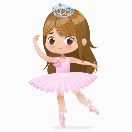 Cute Small Brown Hair Girl Ballerina Dance Isolated. Caucasian Ballet Dancer Baby Princess Character Jump Motion. Elegant Doll wear Pink Tutu Dress. Beautiful Kid Flat Cartoon Vector Illustration.  イラスト・ベクター素材