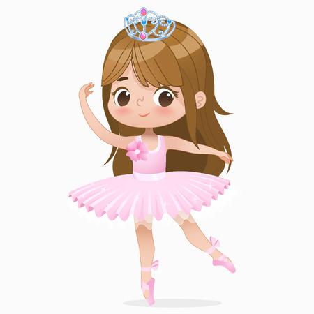 Danza linda de la bailarina de la muchacha del pelo castaño pequeño aislada. Bailarina de ballet caucásica bebé princesa personaje salto movimiento. Elegante muñeca con vestido de tutú rosa. Ilustración de vector de dibujos animados plano hermoso niño.