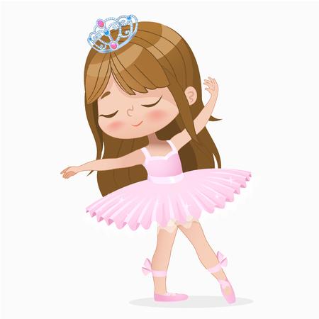 Cute Small Brown Hair Girl Ballerina Dance Isolated. Caucasian Ballet Dancer Baby Princess Character Jump Motion. Elegant Doll wear Pink Tutu Dress. Beautiful Kid Flat Cartoon Vector Illustration