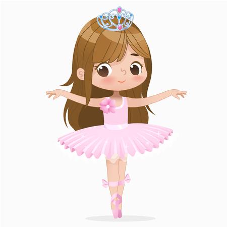 Ballerine Fille Enfant Mignon Danse Isolé. Mouvement de saut de personnage de princesse danseuse de ballet du Caucase. L'enfant élégant porte un Tutu rose pour l'école. Concept de poupée brune Illustration vectorielle de dessin animé plat.