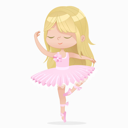 Cute Blond Small Princess Girl Ballerina Dance Isolated. Caucasian Ballet Dancer Sweet Baby Character Jump Action. Elegant Doll wear Pink Tutu Dress. Enjoy Training Flat Cartoon Vector Illustration.