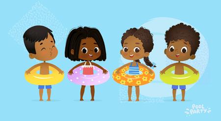 Feliz fiesta multicultural de amigos en la piscina. Carácter internacional con anillo azul amarillo y naranja en Fun Sea Resort. Niños Afro Americanos Relajarse Vacaciones Verano Ilustración Vectorial Dibujos Animados Plana