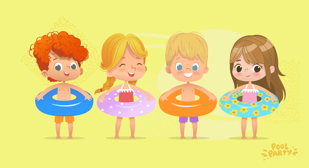 Happy Kids Birthday Time on Swimming Pool Vacation. Funny Girls and Boys in Swimsuit. Water Game with Lifebuoy Tropical Summer Vacation. Beautiful Isolated Beach. Flat Cartoon Vector Illustration