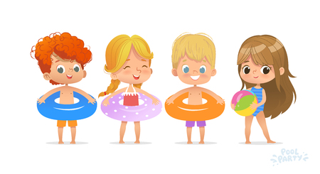 Relax International Children Swimming Pool Party. Red-haired Boy Character with Blue Ring on Fun Sea Resort. Little Girl in Swimsuit Funny Summer Vacation. Flat Cartoon Vector Illustration Çizim