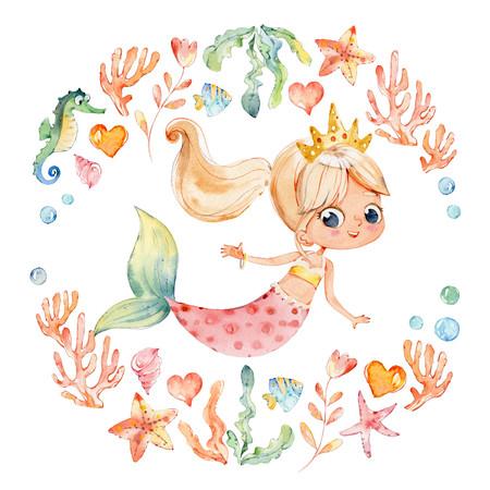 Aquarelle de sirène entourée d'un cadre d'éléments marins, hippocampe, coraux, bulles, coquillages, ancre, algues. Trousse de l'océan. Jeune femme sous-marine nymphe Grace mythologie princesse.