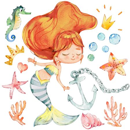 Mermaid Watercolor Character Anchor Ocean Set