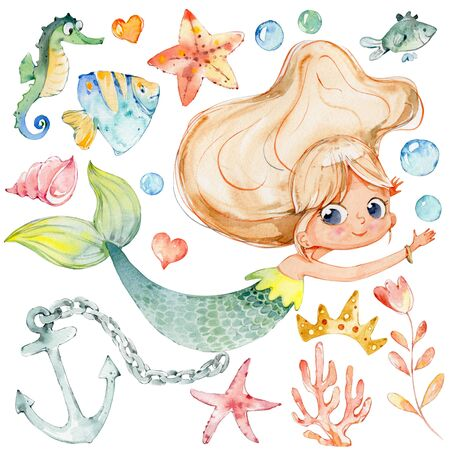 Mermaid Watercolor Child Character Sea Collection