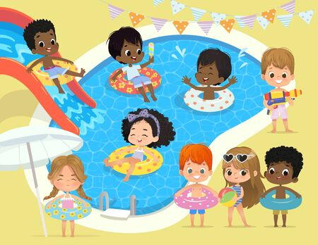 Pool party Kids. Multiracial children have fun in pool. Little Girl in Swimsuit Funny Summer Vacation. Boy with a toy water gun. Children playing in the water Фото со стока