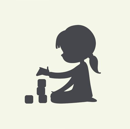 Black and white illustration of Baby Girl playing with toy blocks. Simple Monochrome Silhouette. Can be used as logo or sign. Vector. isolated