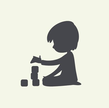 Silhouette of Baby Boy playing with toy blocks. Can be used as logo or sign. Vector Black and white illustration. isolated. Stock Illustratie