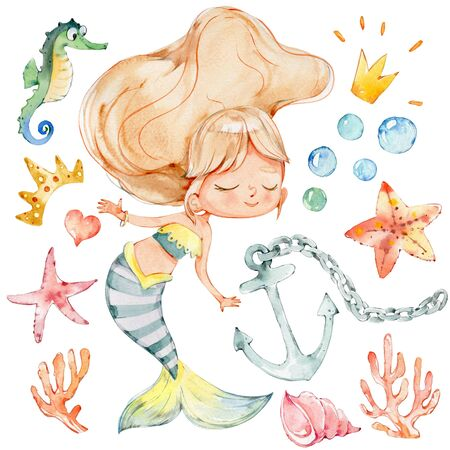 Mermaid Watercolor Character Starfish Ocean Kit. Young Underwater Woman Nymph Beauty Adorable Mythology Princess. Mythical Aquatic Isolated Siren Painting. Sea Set Flat Cartoon Illustration Zdjęcie Seryjne
