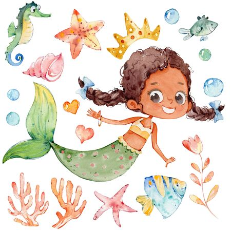 Mermaid Watercolor African Character Ocean Set. Young Underwater Woman Siren Teenage Mythology Princess. Mythical Aquatic Isolated Nymph Graphic. Sea Shell Collection Flat Cartoon Illustration