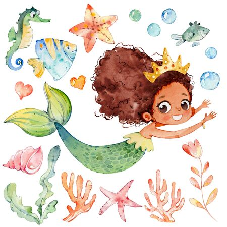 Cute Mermaid Watercolor African Character Set. Small Underwater Woman Siren Teenage Mythology Princess. Fashion Aquatic Isolated Nymph Painted. Sea Coral Collection Flat Cartoon Illustration Stock fotó