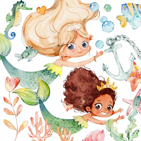 Mermaid Watercolor Baby Character Ocean Set. Underwater Woman Nymph African Children Mythology Princess. Aquatic Isolated Siren Fashion Painting. Ocean Element Kit Flat Cartoon  Illustration