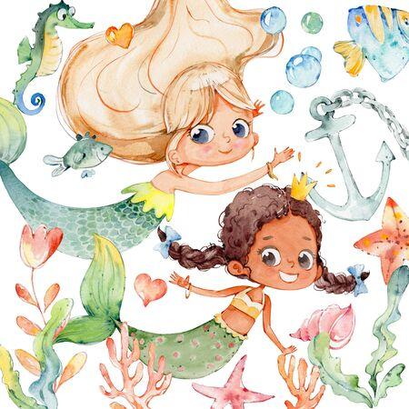 Mermaid Couple Watercolor Character Ocean Set. Underwater Woman Nymph African Kid Mythology Princess. Aquatic Isolated Siren and Seahorse Painting. Sea Element Kit Flat Cartoon  Illustration 写真素材