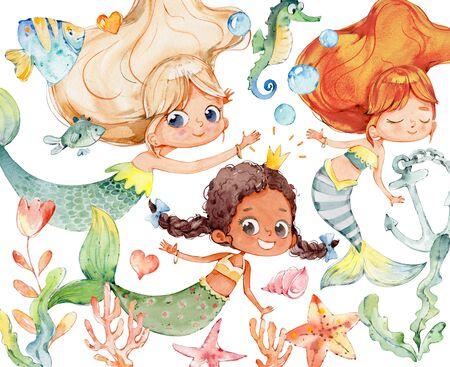 Mermaid Various Watercolor Character Ocean Set. Underwater Baby Nymph African Mythology Princess. Aquatic Isolated Elegant Siren and Coral Painting. Sea Element Kit Flat Cartoon  Illustration