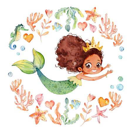 African American Baby Watercolor Mermaid Surrounded by Frame of sea elements, Sea Horse, corals, bubbles, seashells, anchor, seaweeds. Ocean Kit. Young Underwater Woman Nymph Grace Mythology Princess. Mythical Aquatic Isolated Baby Siren Painting. Zdjęcie Seryjne