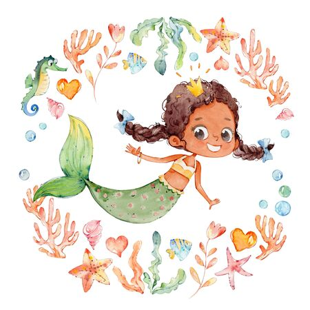 Cute African American Watercolor Mermaid Surrounded by Frame of sea elements, Sea Horse, corals, bubbles, seashells, anchor, seaweeds. Ocean Kit. Young Underwater Woman Nymph Grace Mythology Princess. Mythical Aquatic Isolated Baby Siren Painting. Zdjęcie Seryjne