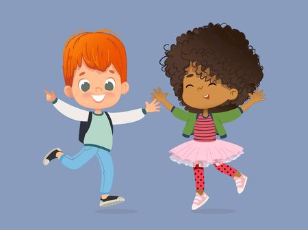 School Kids Boy and girl are happily jump together. Kids Play at the grass. The concept is fun and vibrant moments of childhood. Vector illustrations. Zdjęcie Seryjne
