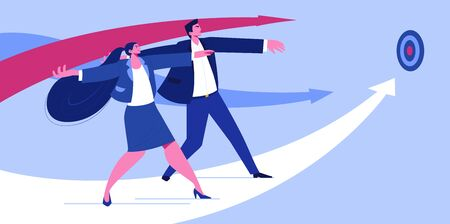 Professional Business Character Team Goal. Partner Connect Creative Innovation Work. Joyful Teamwork Accomplishment Portfolio. New Digital System Flat Cartoon Illustration Banco de Imagens
