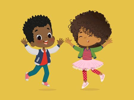 African American Boy and girl are playing together happily. Kids Play at the grass. The concept is fun and vibrant moments of childhood. Vector illustrations.