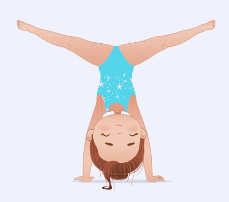 Beautiful girl doing handstand and split. Stretching or yoga exercise. Flexible gymnastics girl vector illustration isolated on white background