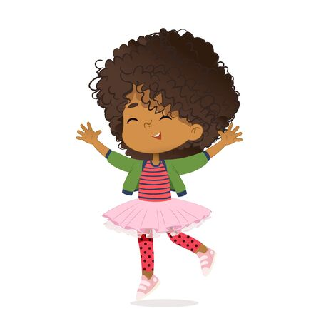 Smiling African American girl happily jump and dance. School girl have fun. The concept is fun and vibrant moments of childhood. Vector illustrations. Banco de Imagens