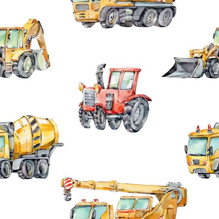 Watercolor Background for Kids with with little toy Building Machines. Watercolor seamless pattern Trucks and Cars. Red tractor, Excavator, Digger machine, Concrete Mixer