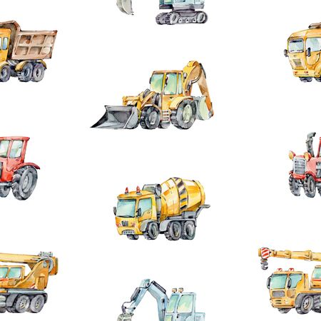 Watercolor Background for Kids with with little toy Building Machines. Watercolor seamless pattern Trucks and Cars. Red tractor, Excavator, Digger machine, Concrete MixerÑŽ Zdjęcie Seryjne